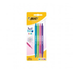 BOLIGRAFO EST. 4 BOLI BIC SOFT FEEL RETR. 1MM STDO FUN