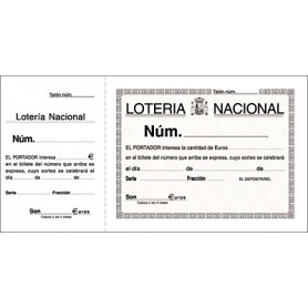 TALONARIO LOTERIA 210x105 MM. (100H.) C/MATRIZ