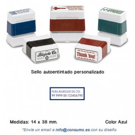 SELLO PERSONALIZADO DIGISTAMP 14x38 MM. AZUL