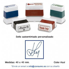 SELLO PERSONALIZADO DIGISTAMP 40x40 MM. AZUL