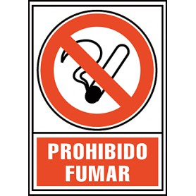 PLACA SEÑAL NORMALIZADA -PROHIBIDO FUMAR-