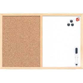 TABLERO COMBINADO 600x900 MM. CORCHO/PIZARRA MARCO MADERA