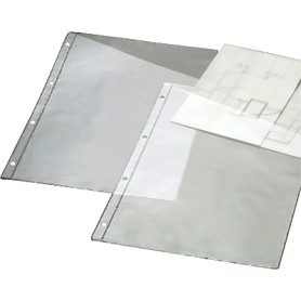 FUNDA PLANOS A4/FOL 4 TALADROS (100U.) C/DIAGONAL 100MIC.