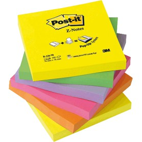 BLOC POST-IT Z-NOTES  76X76 NEON (6U.) SURTIDOS