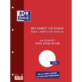 RECAMBIO PAPEL 4 TALADROS A4 (100H.) 1 LINEA C/MARGEN