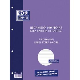 RECAMBIO PAPEL 4 TALADROS A4 (100H.) DOBLE LINEA 3,5 C/MARGEN