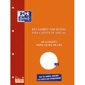 RECAMBIO PAPEL 4 TALADROS A4 (100H.) LISO OXFORD