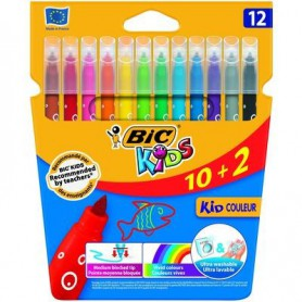ROTULADORES COLORES BIC KID COULEUR (10+2U.) ESTUCHE