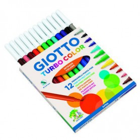 ROTULADORES COLORES GIOTTO TURBO COLOR (12U.) SURTIDO ESTUCHE