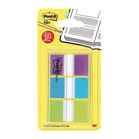 POST-IT INDEX RIGIDO ARCHIVO EXTRA VIOLETA, VERDE, AZUL