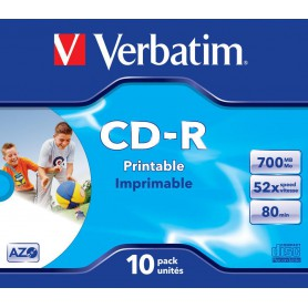 CD-R 700 MB. VERBATIM 52x IMPRIMIBLE (BOBINA 25U.) + CANON
