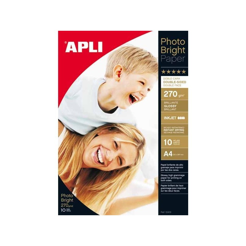 PAPEL INK-JET APLI A4 PHOTO BRIGHT 2 CARAS (10H.)
