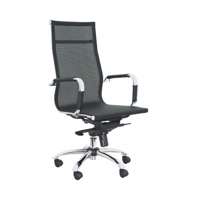 Silla de oficina PyC modelo barrax ergonomica basculante malla negro