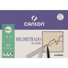 BLOC TECNICO CANSON MILIMETRADO A4 100GR. 12 HOJAS