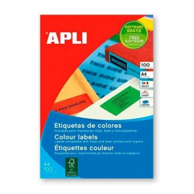 ETIQUETAS LASER A4 COLOR 105X37 MM. 20H. 320U. VERDE 1598