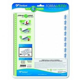 FORRALIBROS AJUSTABLE 280x550 MM. 80MIC. (5U.) TRANSPARENTE