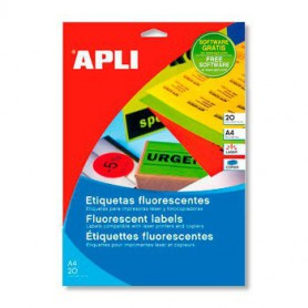 ETIQUETAS LASER A4 COLOR 210X297 MM. 20H. 20U. FLUOR AMARILLO 2878