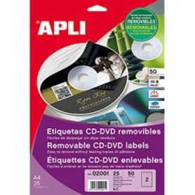 ETIQUETAS CD/DVD ILC A4 114 MM.  25H. 50U. REMOVIBLE MATE