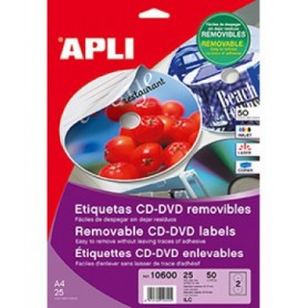 ETIQUETAS CD/DVD ILC A4 117 MM.  25H. 50U. REMOVIBLE MATE