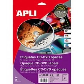 ETIQUETAS CD/DVD ILC A4 117 MM.  25H. 50U. DORSO OPACO
