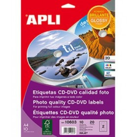 ETIQUETAS CD/DVD INKJET A4 117 MM.  10H. 20U. BRILLANTE FOTO
