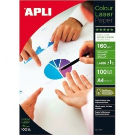 PAPEL A4 LASER GLOSSY A4 160G DOBLE CARA (100H.)