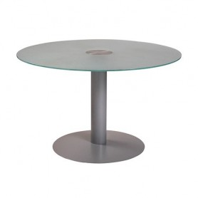MESA REUNION MEETING 100 CMS. PIE METAL / CRISTAL