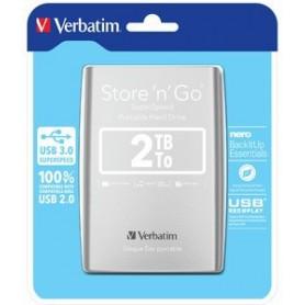 """DISCO DURO 2,5""""  2 TB. USB 3.0 VERBATIM GEN2 PLATA"""