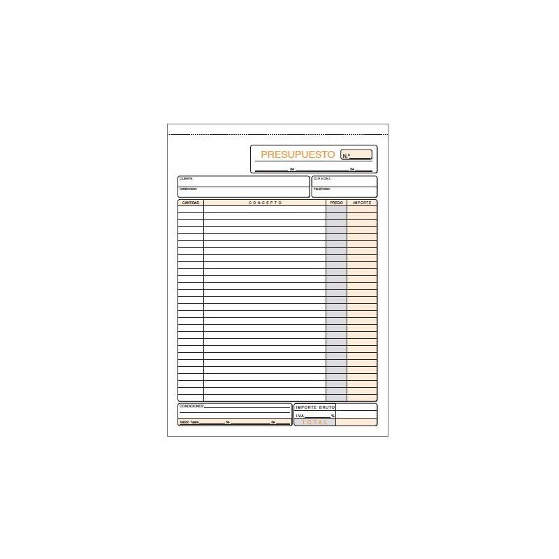 TALONARIO PRESUPUESTO Fº 210x297 MM. (2x50H.) DUPLICADO