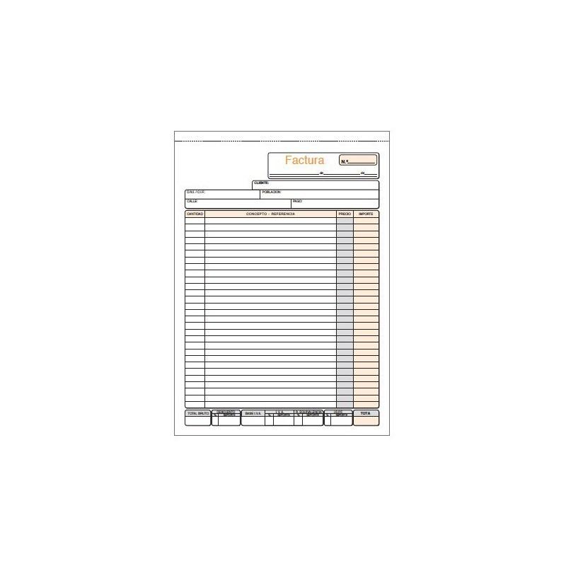 TALONARIO FACTURA Fº 210x305 MM. (2x50H.) DUPLICADO