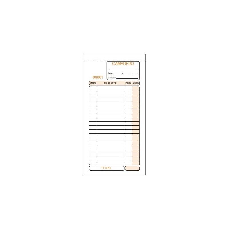 TALONARIO CAMAREROS 1/3 Fº NATURAL (3x50H.) TRIPLICADO