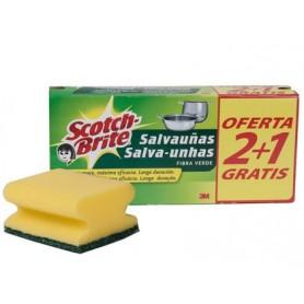 ESTROPAJO FIBRA VERDE SALVAUÑAS (2+1) 3M SCOTCH-BRITE