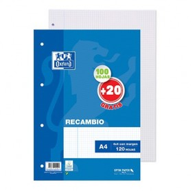 RECAMBIO PAPEL 4 TALADROS A4 (100H.) 4x4 C/MARGEN